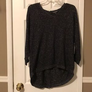 Express high low black/silver v neck sweater